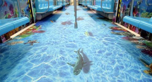 青岛地铁海底世界主题车厢
