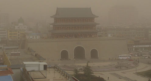 沙尘暴侵袭武威