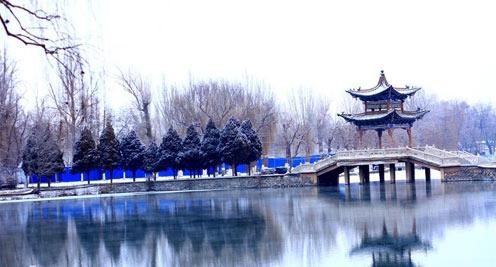 【大美甘肅】雪落戈壁古城