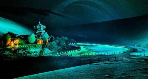 【大美甘肅】敦煌大漠夜色雪景斑斕