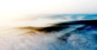 黃土高原現雲山霧海