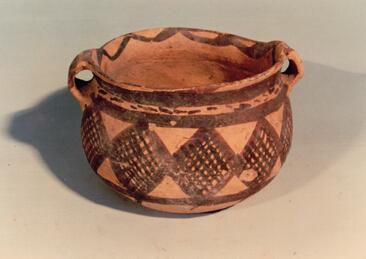 網紋雙耳彩陶罐