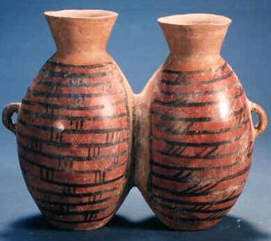 彩陶雙連壺